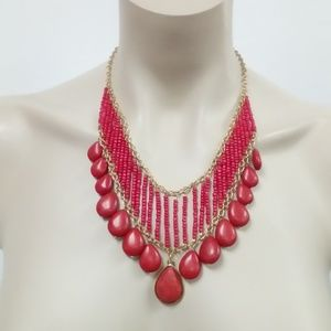 NWT Red Howlite Beaded Necklace Set